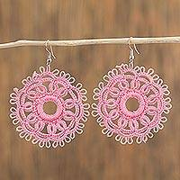 Cotton dangle earrings, 'Tatted Mandalas in Blush' - Circular Tatted Cotton Earrings in Blush from Mexico