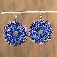 Cotton dangle earrings, 'Tatted Mandalas in Royal Blue' - Circular Tatted Cotton Earrings in Royal Blue from Mexico