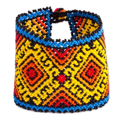 Colorful Glass Beaded Wristband Bracelet from Mexico
