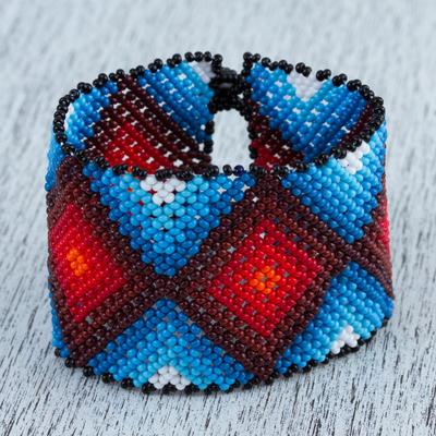 Novica Glass beaded wristband bracelet, Chavelas Poncho