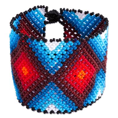 Diamond Motif Glass Beaded Wristband Bracelet from Mexico