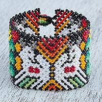 Glass beaded wristband bracelet, 'Walk of Life' - Huichol Glass Beaded Wristband Bracelet from Mexico