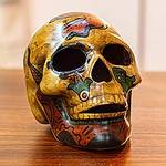 Ceramic Skull Sculpture with Pre-Hispanic Motifs from Mexico, 'Ancestral Tradition'