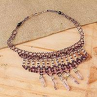 Amethyst beaded necklace, 'Delicate Purple' - Amethyst and Sterling Silver Beaded Necklace from Mexico