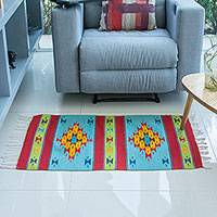 Wool area rug, 'Pretty Sky' (2x3) - Handwoven Geometric Wool Area Rug (2x3) from Mexico