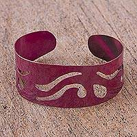Copper cuff bracelet, 'Fire and Water' - Handcrafted Copper Cuff Bracelet with Cutout Motifs
