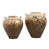 Ceramic vases, 'Born of the Earth' (pair) - Hacienda Terracotta Water Jar Style Pair of Decorative Vases