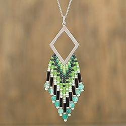Agate pendant necklace, 'Green Diamond' - Handmade 925 Silver and Agate Necklace with Seed Beads