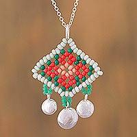 Sterling silver pendant necklace, 'Tangerine Diamonds' - 925 Silver Necklace with Huichol God's Eye Beaded Pendant