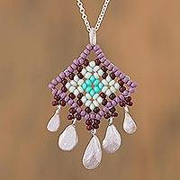 Sterling silver pendant necklace, 'Lilac Diamonds' - Huichol God's Eye Style Pendant Necklace with 925 Silver