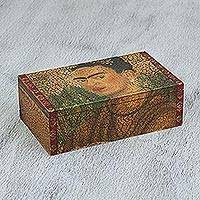 Decoupage wood decorative box, 'Mysterious Frida' - Pinewood Decorative Box with Frida Kahlo from Mexico