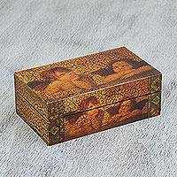 Wood decorative box, 'Raphael's Angels' - Handmade Pinewood Decorative Box with Angels from Mexico