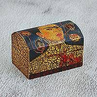 Decoupage box, 'Frida's Loves' - Frida Kahlo Theme Decoupage Box Handcrafted in Mexico