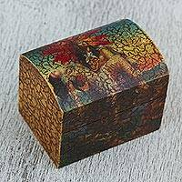 Decoupage box, 'Aztec Love Story' - Tragic Aztec Love Story Handcrafted Decoupage Box