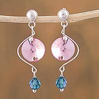 Sterling silver dangle earrings, 'Sweet Rose Sparkle' - 925 Silver Earrings with Pink and Blue Swarovski Crystals