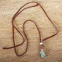 Fluorite pendant necklace, 'Serene Relaxation' - Aqua Fluorite and Swarovski Crystal Long Leather Necklace