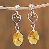 Sterling silver dangle earrings, 'Iridescent Sun' - Handcrafted Sterling Silver Earrings with Yellow Swarovski