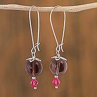Smoky quartz dangle earrings, 'Fire and Smoke' - Smoky Quartz and Silver Earrings with Swarovski Crystals