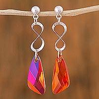 Sterling silver dangle earrings, 'Infinite Tangerine Tones' - Sterling Silver and Swarovski Crystal Modern Earrings