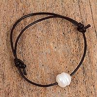 Cultured pearl and leather cord bracelet, 'Moon Over Zapopan' - Leather and Cultured Pearl Bracelet with Sterling Silver