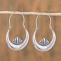 Sterling silver hoop earrings, 'Camecuaro Lotus' - Handcrafted Sterling Silver Lotus Flower Hoop Earrings