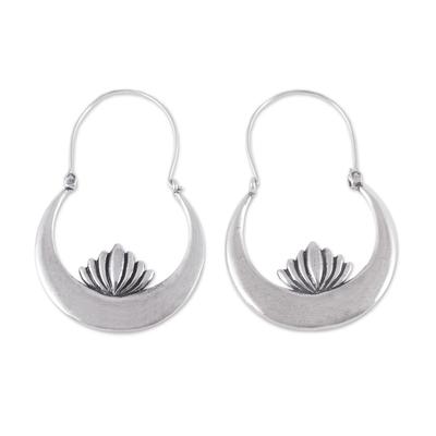 Sterling silver hoop earrings, 'Camecuaro Lotus' - Handcrafted Sterling Silver Lotus Flower Hoop Earrings