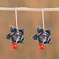 Carnelian dangle earrings, 'Ixchel Lotus' - Floral Dangle Earrings in 925 Silver and Carnelian