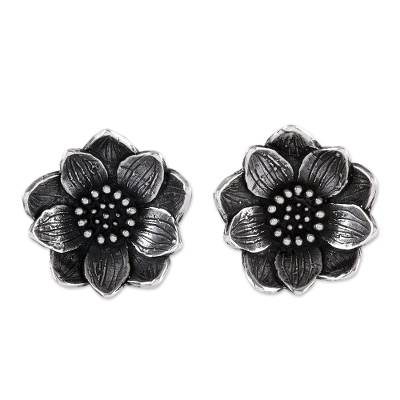 Sterling silver button earrings, 'Spiritual Blossom' - Mexico Artisan Crafted Flower Earrings in Sterling Silver