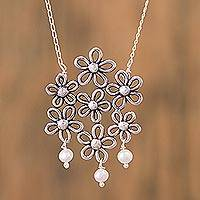 Cultured pearl pendant necklace, 'Flowers of My Country' - Cultured Pearl Floral Pendant Necklace from Mexico