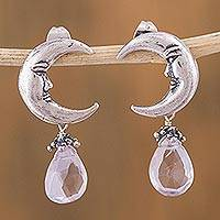 Amethyst dangle earrings, 'Ixchel Goddess' - Moon Goddess Sterling Silver Earrings with Amethysts