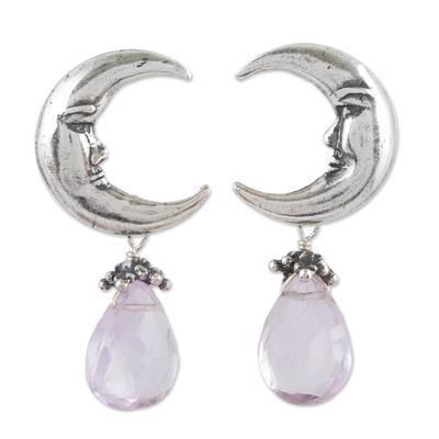Amethyst dangle earrings, 'Ixchel Goddess' - Moon Goddess Sterling Silver Earrings with Amethysts