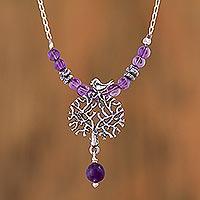 Amethyst pendant necklace, 'Avian Arbor'