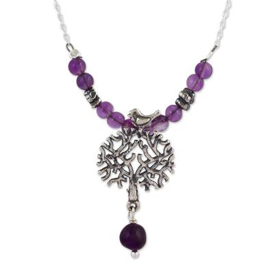 Amethyst pendant necklace, 'Avian Arbor' - Artisan Crafted Mexican Silver and Amethyst Necklace