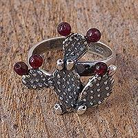 Garnet cocktail ring, 'Prickly Pear Fruit' - Garnet Prickly Pear Cactus Sterling Silver Cocktail Ring