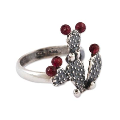 Garnet cocktail ring, 'Prickly Pear Fruit' - Garnet Prickly Pear Cactus Sterling Silver Cocktail Ring