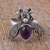 Amethyst and cultured pearl wrap ring, 'Makech'