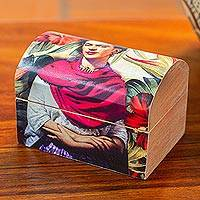 Decoupage wood box, 'Frida with Hibiscus' - Frida Kahlo Theme Petite Decorative Decoupage Wood Box