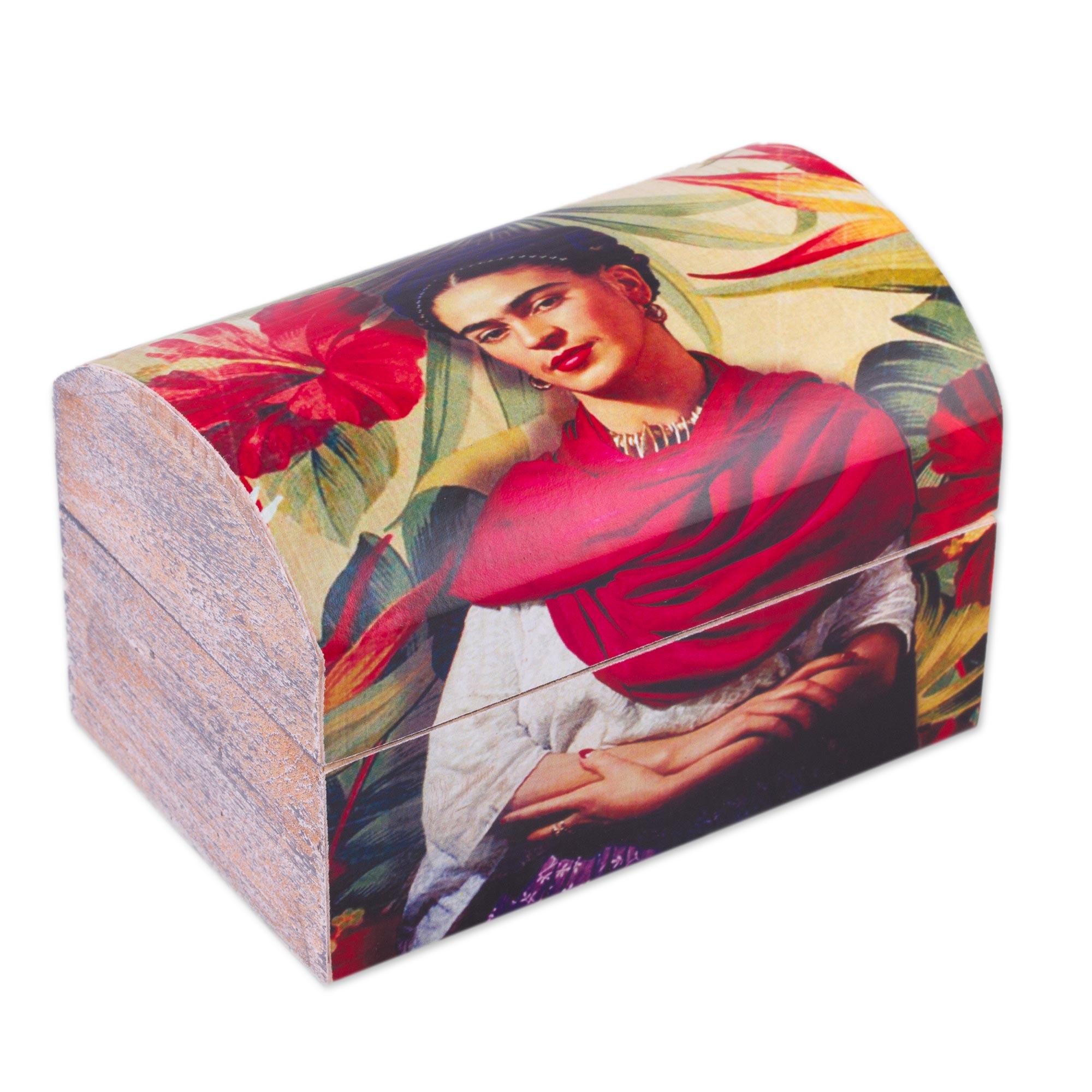 Frida Kahlo Theme Petite Decorative Decoupage Wood Box, \u0027Frida with  Hibiscus\u0027