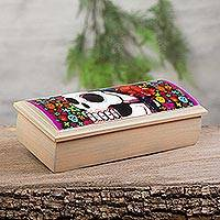 Decoupage jewelry box, 'Life of the Dead' - Day of the Dead Skeletons Decoupage Jewelry Box
