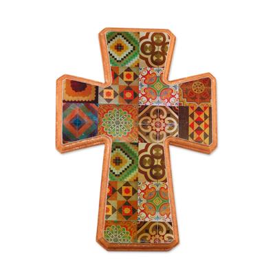 Decoupage wall cross, 'Puebla Heritage' - Handcrafted Decoupage Wall Cross with Puebla Tile Motifs