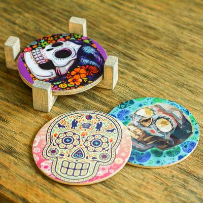 Decoupage coasters, 'Festival of the Dead' (set of 4) - Day of the Dead Decoupage Coasters and Stand (Set of 4)