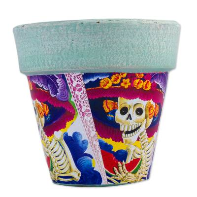 Decoupage decorative flower pot, 'Catrina Fiesta' - Catrina Decoupage Day of the Dead Terracotta Flower Pot