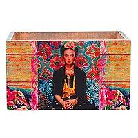 Decoupage wood crate, 'Quintessential Frida' - Handcrafted Decoupage Pinewood Crate with Handles
