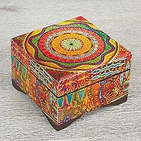 Decoupage wood decorative box, 'Huichol Mandala' - Petite Pinewood Decoupage Box with Huichol Icons