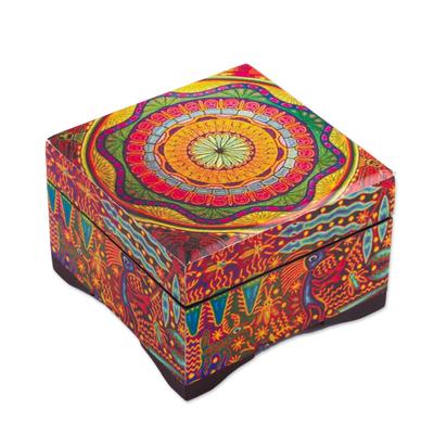 Decoupage wood decorative box, 'Huichol Mandala' - Petite Pinewood Decoupage Box with Huichol Icons
