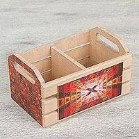 Decoupage wood crate, 'Path into History' - Decoupage Pinewood Mini Crate with Handles