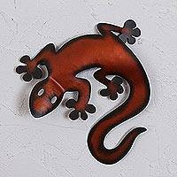 Iron wall sculpture, 'Climbing Lizard' - Handcrafted Red Iron Lizard Wall Sculpture from Mexico
