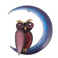 Iron wall sculpture, 'Owl on the Moon' - Handcrafted Iron Owl and Moon Wall Sculpture from Mexico