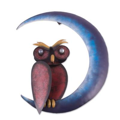 Steel wall sculpture, 'Owl on the Moon' - Handcrafted Steel Owl and Moon Wall Sculpture from Mexico