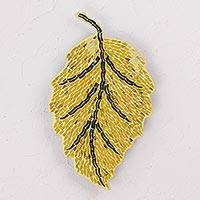 Glass mosaic wall sculpture, 'Turning Leaf' - Glass Mosaic Leaf Wall Sculpture in Yellow from Mexico
